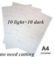 20 pces = 10 luz + 10 papel de transferência a laser escuro a4 calor transferência térmica impressão etiquetas de papel com imprensa térmica para tshirt|paper stickers|paper a4|stickers stickers -