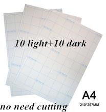 20 Pcs = 10 Licht + 10 Dark Laser Transfer Papier A4 Papier Heat Thermal Transfer Papier Stickers Met warmte Pers Voor Tshirt(China)