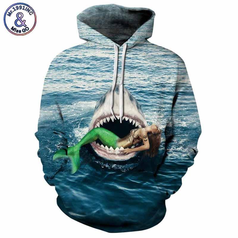 Mr.1991INC 2018 new shark and mermaid 3d Sweatshirts Men/womens hoodie sweatshirt casual Hooded Pullovers Men Hoodies M280