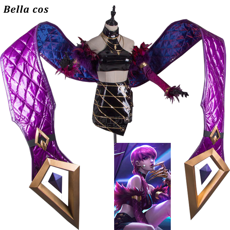 LOL KDA Evelynn Cosplay Costume PU Leather Uniform halloween costumes Game cosplay clothes outfits cos top