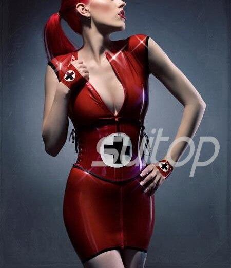 Uniformes de goma de látex (vestido + corsé pesado) enfermera en ruso color rojo profundo doble (látex de doble cara) traje de COSPLAY-in Vestidos from Ropa de mujer    1