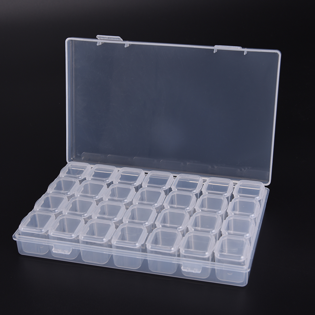 1pc 28 Single Slot Plastic Jewelry Ring Pill Adjustable Tool Container Storage Box Case Craft <font><b>Organizer</b></font> <font><b>Beads</b></font> Diy Fitting Making image