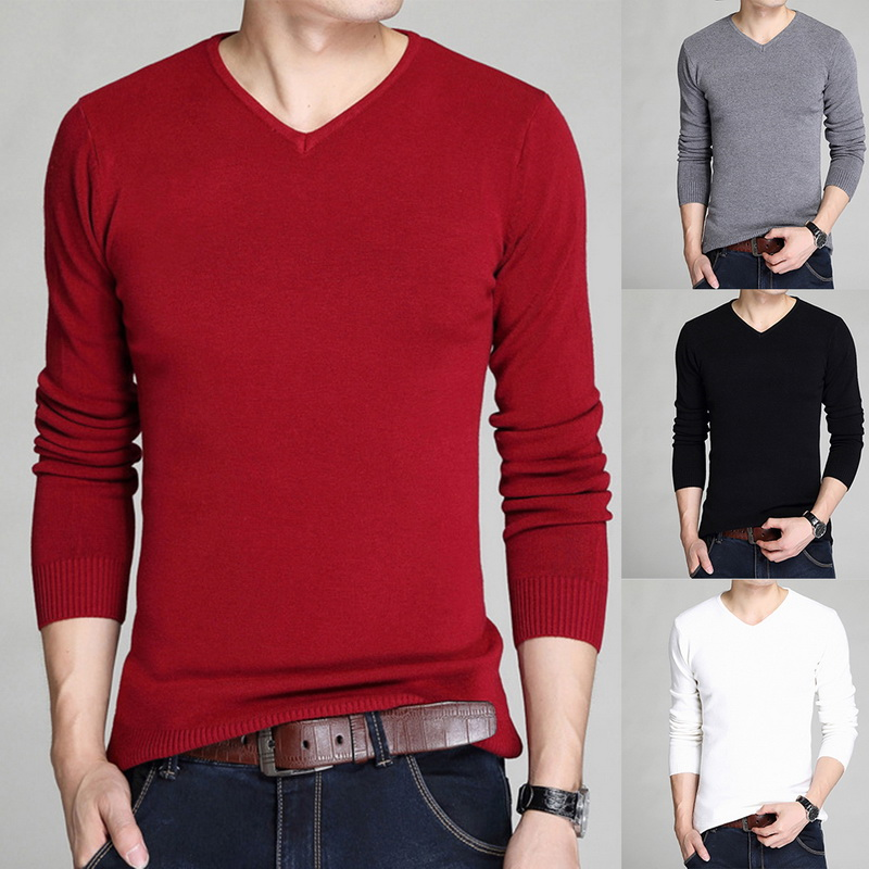 MJARTORIA 2019 Autumn Winter Casual Men's Sweater V-Neck Pullover Slim Fit Knittwear Pullovers Men Pull Homme