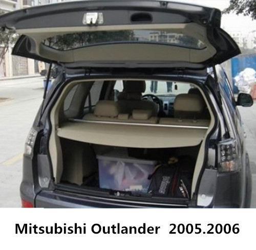 For Mitsubishi Outlander 2005.2006 Rear Trunk Security Shield Cargo Cover High Qualit Black Beige Car Auto Accessories car rear trunk security shield cargo cover for mitsubishi outlander 2013 2014 2015 high qualit black beige auto accessories
