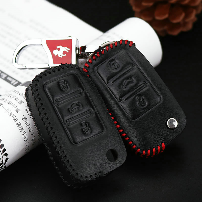 KUKAKEY Car Key Case For Volkswagen Genuine Leather Key Cover For VW Polo Golf Passat Touareg Tiguan Beetle Bora Jetta Key Bag