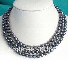Подлинная многопрядный 7 мм Черный Цвет культивированный пресноводный жемчуг ожерелье