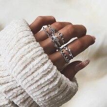 7 Pcs/set Bohemian Beach Retro Leaf Eye Lotus Wave Gems Geometry Crystal Ring Set Women Charm Jewelry Accessories