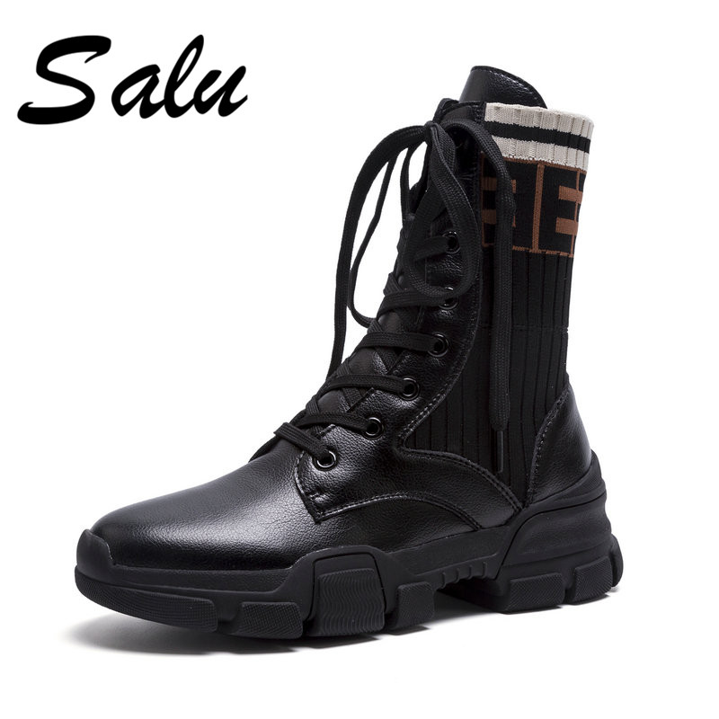 Salu 2018 new fashion Women Flat Boots Genuine Leather Retro Casual Shoes Cut Out Ankle Boots heel flat shoes boots lace up salu 2018 new genuine leather women ankle boots lace up sexy women shoes platform flat high heel winter shoes women boots