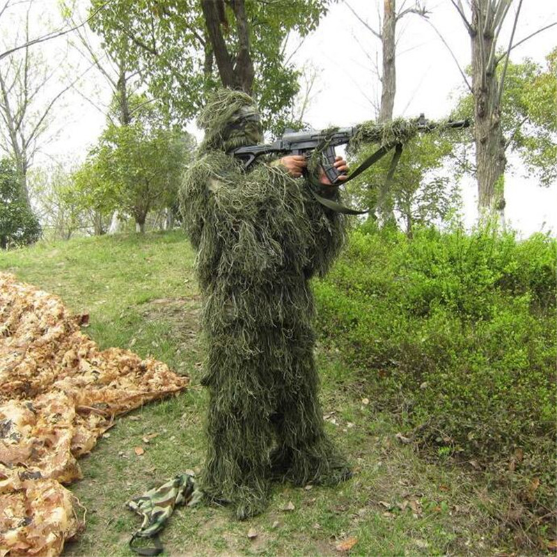 Tactical Camouflage Jungle Hunting Ghillie Suit Set Woodland Birdwatching Poncho Breathable Hunting Clothes For Outdoor Training hunting woodland 3d camouflage ghillie suit jungle storage bag for sniper tactical army clothes birdwatching kit