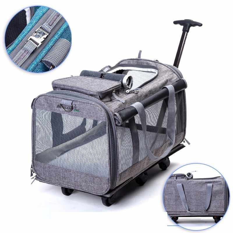 New Cationic Breathable Pet Nest With Wheel Lever Panoramic Skylight Super Breathable Carrier Cat Dog Travel Pet Package