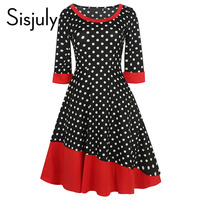 Sisjuly Vintage Dress Women Autumn Polka Dot Patchwork A Line Mid Calf Length O Neck Three