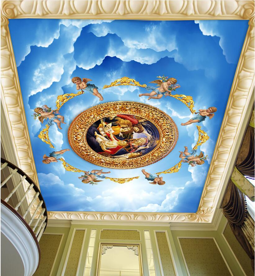 3d ceiling murals wallpaper custom photo non-woven room 3d wall murals wallpaper for walls 3 d European angel sky painting 3d ceiling murals wallpaper custom photo non woven sky dandelion dove leaves painting 3d wall mural wallpaper for living room