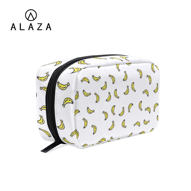 ALAZA Banana Pattern Makeup Bag Women Cosmetic Bag Organizer Waterproof Portable Travel Necessity Beauty Case Wash Pouch