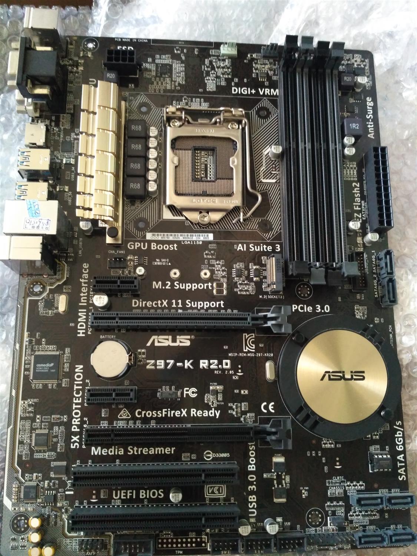 Используется, Asus Z97 K R2.0 рабочего Материнская плата Z97 разъем LGA 1150 i7 i5 i3 DDR3 32 г SATA3 ATX