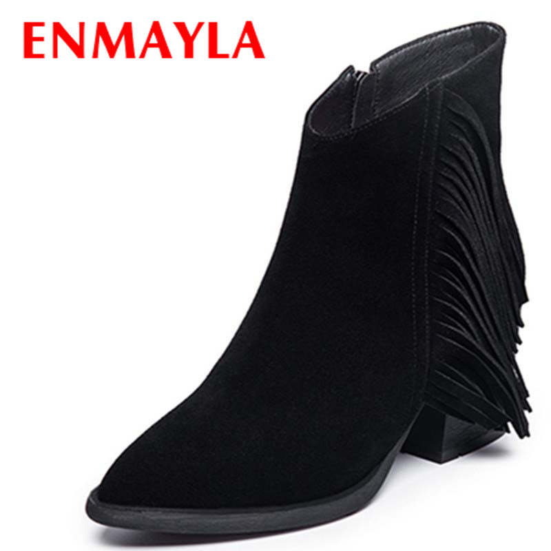 ENMAYLA Motorcycle Boots Shoes Woman Black Shoes High Heels Platform Winter Ankle Boots for Women Large Size 34-41 Casual Shoes enmayla ankle boots for women low heels autumn and winter boots shoes woman large size 34 43 round toe motorcycle boots