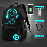 Oxford Noctilucent Backpacks Cartoon Men Women Teenager School Backpack Night Lighting Bags With Free USB Pen
