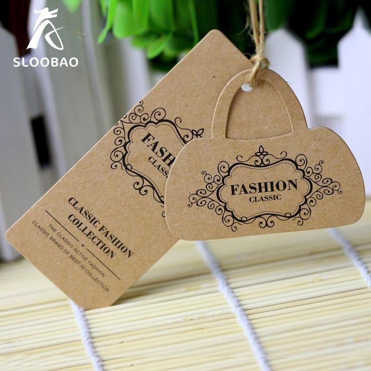 High Quality Hang Tag Grade Kraft Paper Tag Clothing Bag Label Customized Printed Logo Kraft
