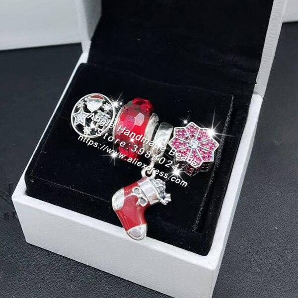4 pièces mode 925 argent rouge émail noël chaussette Dangle charme perle bijoux ensemble idéal pour bracelet colliers bijoux faisant femme cadeau