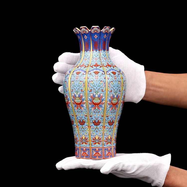 Creative Antique Chinese Classic Qing Ceramic Vase Home Office Hotel Decoration Porcelain Flower Vase