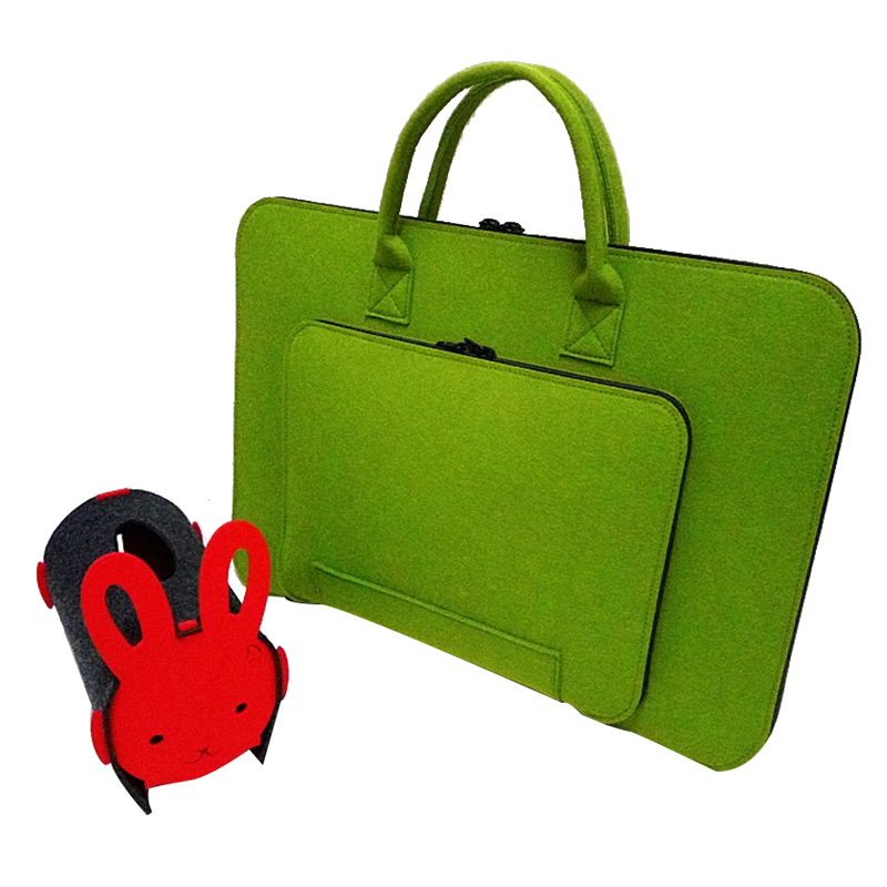 Felt Universal Laptop Bag Notebook Case Briefcase Handlebag Pouch For Macbook Air Pro Retina 15 Inch Men Women(Green)