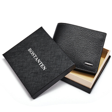 Короткие мужские кошельки BOSTANTEN с коробкой, повседневный однотонный мужской брендовый кошелек, мужской черный карман для монет, ID держатель для карт, кошелек