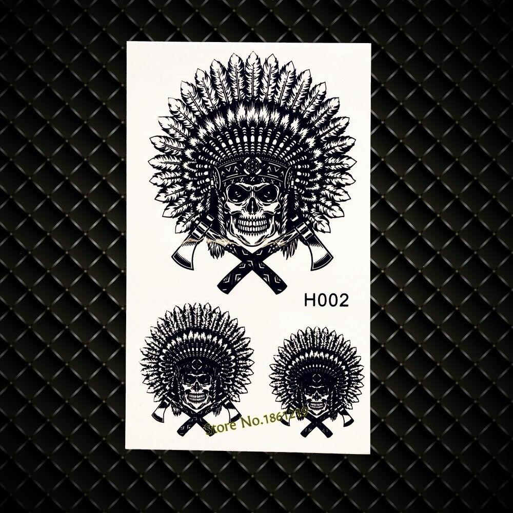 ᗜ lj Hombre Indio Guerreros Temporal Tatuaje Negro Tinta Henna