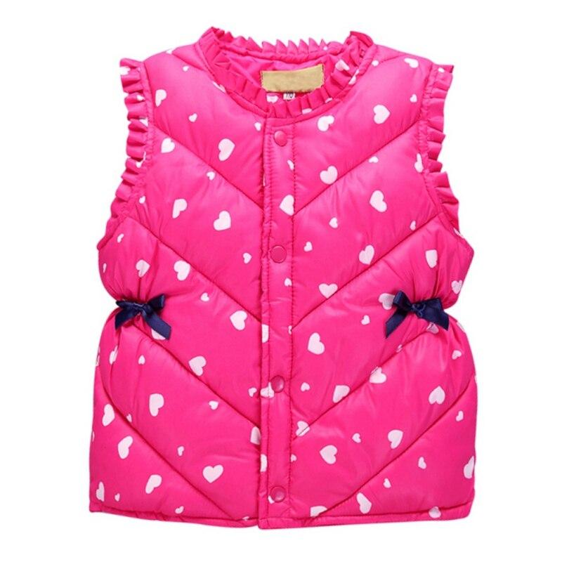 2017 Autumn Spring Winter Baby Girls Waistcoat Kids Hear Printed Thick Warm Vest Children Clothing 2-6Years цена
