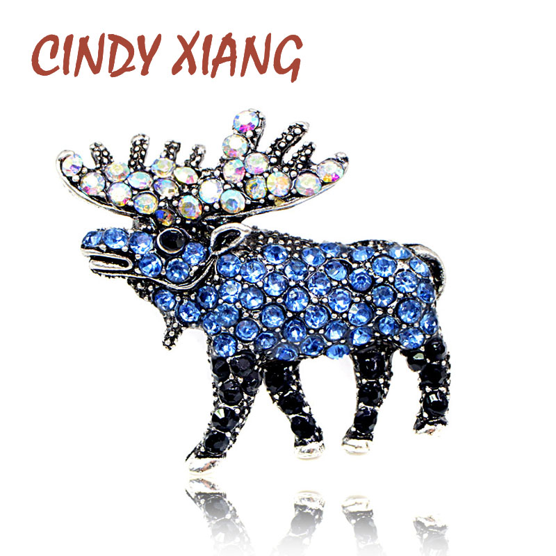 CINDY XIANG Rhinestone Elk Brooches for Women 2 Colors Available Fashion Small Animal Brooch Pin Hot Sale Drop Shipping New 2018