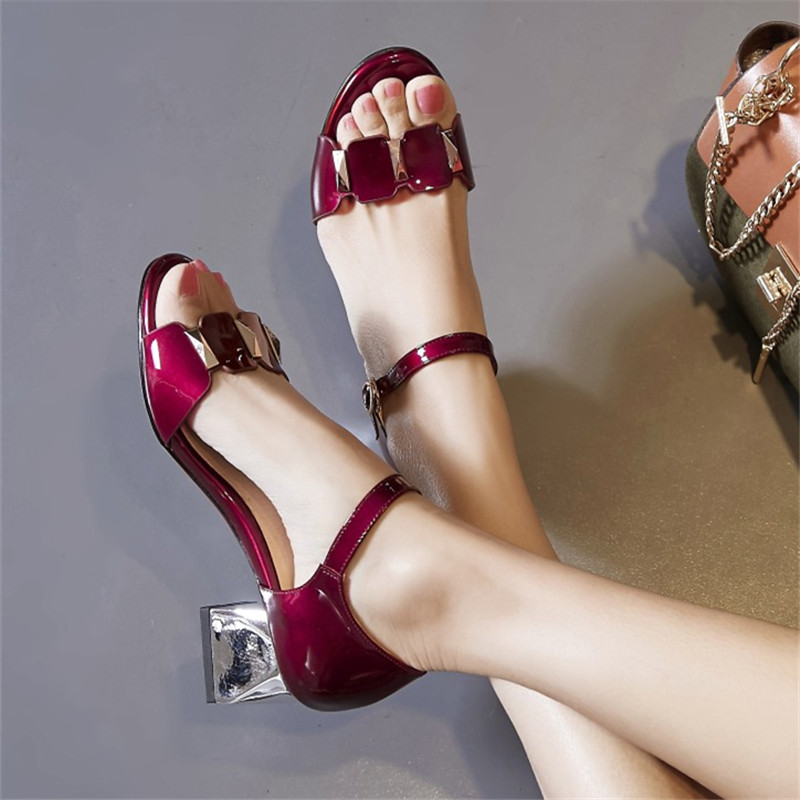 Plus Size 34-43 New Fashion High heels sandals Summer women Casual Square heel Genuine patent leather Pumps shoes Free shipping xiaying smile summer new woman sandals platform women pumps buckle strap high square heel fashion casual flock lady women shoes