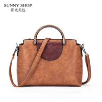SUNNY SHOP High Quality Bags For Women 2017 Vintage Women Messenger Bags Metal Handle Purses And