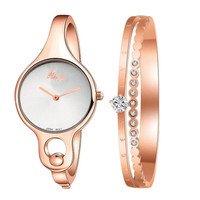 Women Watch Female Gold Dress Watch s feminino reloje mujer montre femme Gold Rhinestone Bangle And Bracelet Set Wristwatches