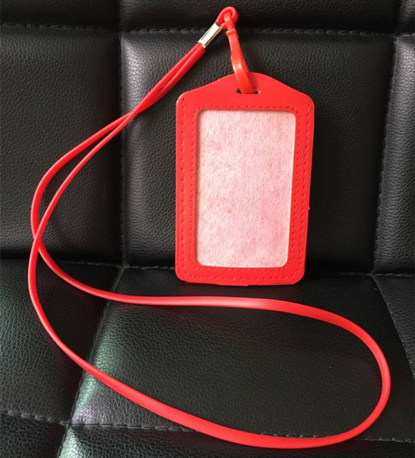 1pcs Red Color Vertical PU Work Card ID Business Card Badge Holder + Silicone Neck ID Lanyard Strap With Plastic Clip