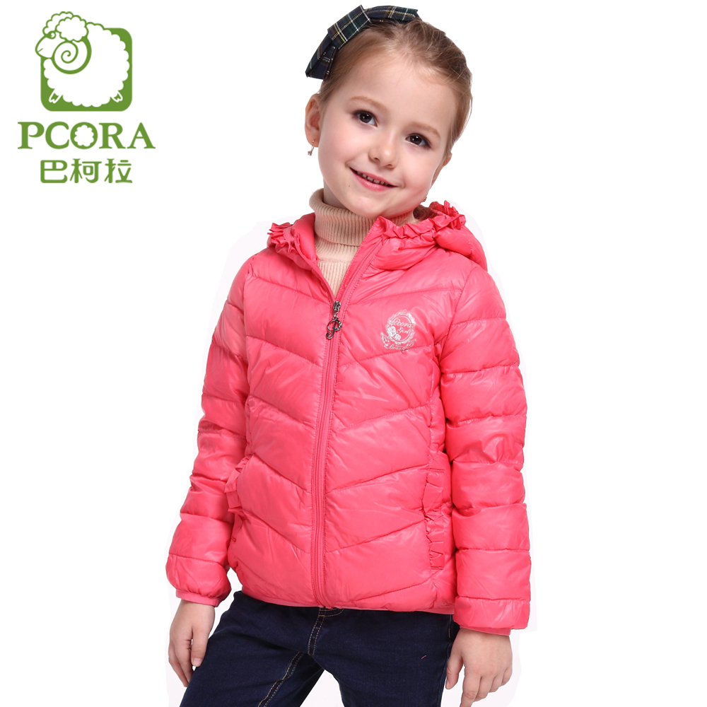 PCORA Winter Jacket for Girls Coat Outwear White Duck Down Pink Hooded Children Clothing Winter Kids