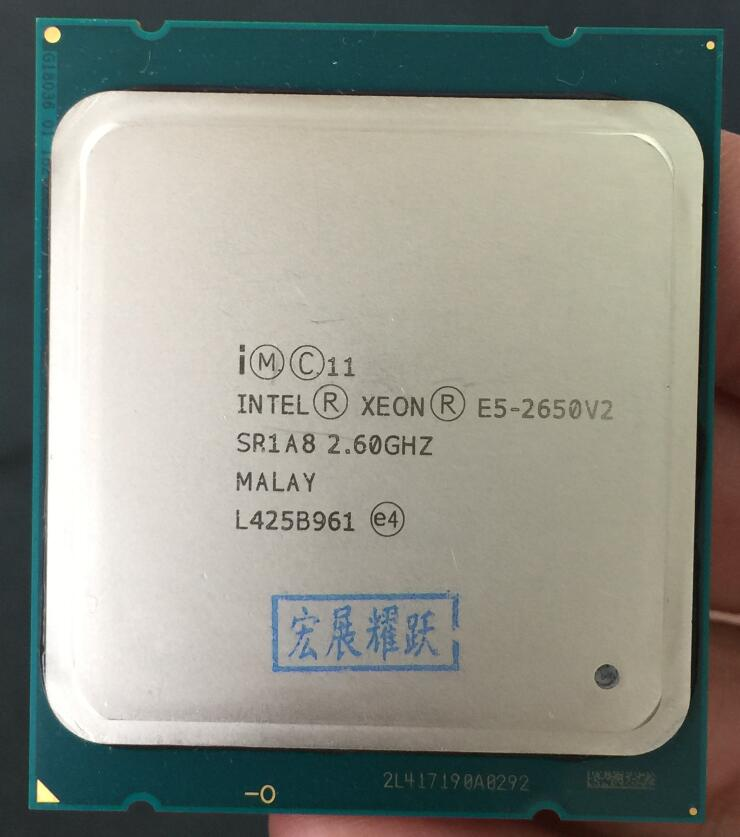 Processeur Intel Xeon E5-2650 V2 E5 2650 V2 CPU 2.6 LGA 2011 SR1A8 Octa Core processeur d'ordinateur de bureau e5 2650V2 100% travail normal