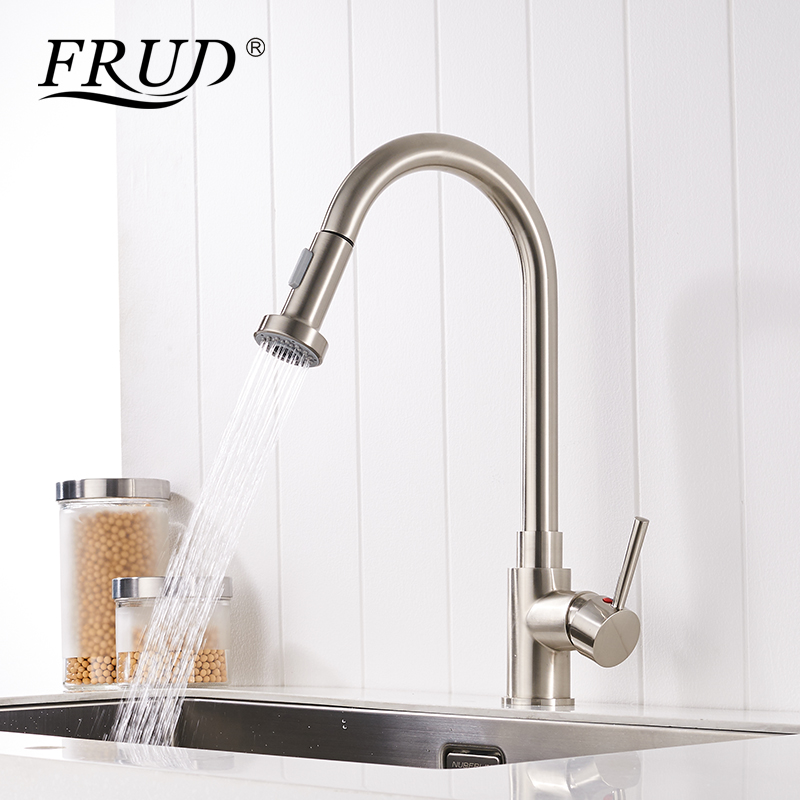 FRUD High Quality Pull Out Kitchen Faucet Brass High Arch Kitchen Sink Faucet Rotation Spray Mixer Tap Torneira Cozinha Y40050FRUD High Quality Pull Out Kitchen Faucet Brass High Arch Kitchen Sink Faucet Rotation Spray Mixer Tap Torneira Cozinha Y40050
