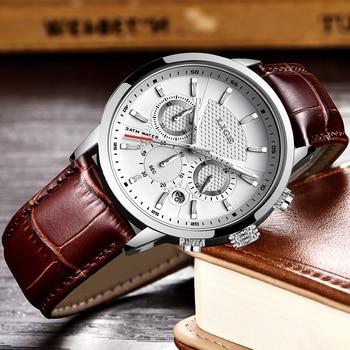LIGE Mens Watches Gift Top Luxury Brand Waterproof Sport Watch Chronograph Quartz Military Genuine Leather Relogio Masculino 3