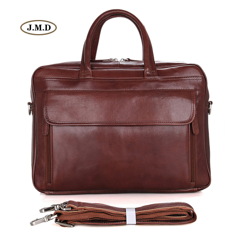 Hot Selling Genuine Cow Leather Unisex Business Briefcase High Quality 15 Inches Laptop Bag Classic Shoulder Bag 7333B-1