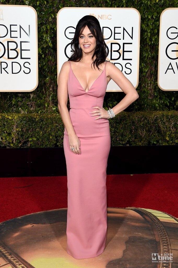 73rd Golden Globe Awards Katy Perry robe célébrité robes de soirée sans manches avec bretelles Spaghetti pas cher robes de tapis rouge