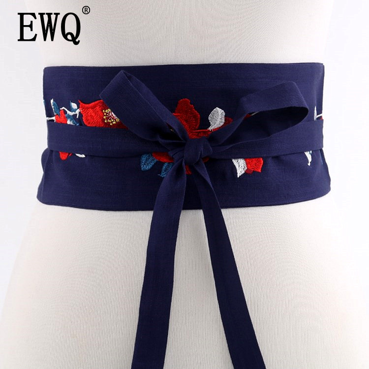 [EWQ] 2019 Spring New Vintage Embroidered Waistband Cloth Belt Decorative Bandage Girdle Women Wild Accessories 3 Color QH39103