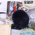 Hot selling friendly Trinket Royal Dark gray Royal blue Fur Keyring For Lovers 10CM Rabbit  Ball Keyrings Accessories Bag Charm
