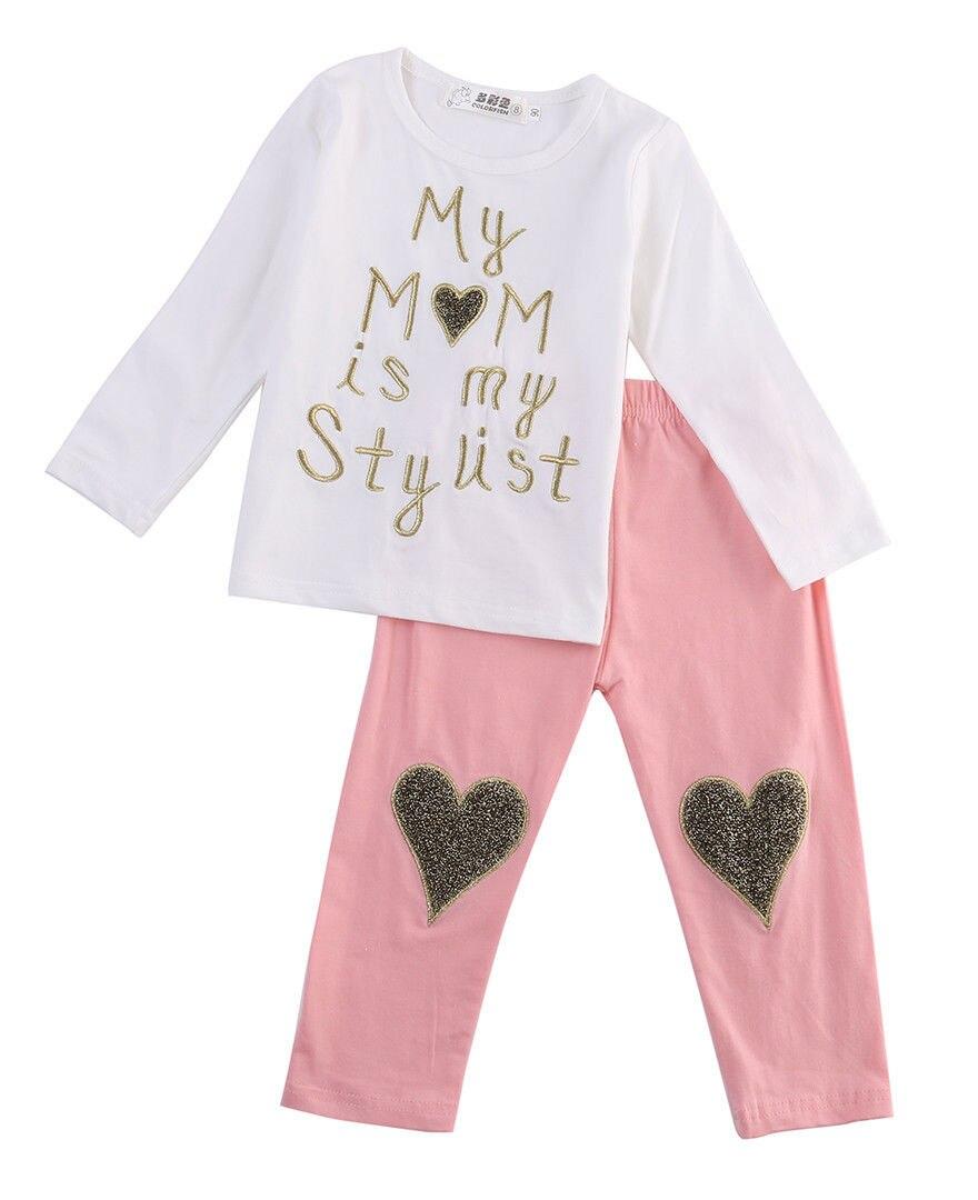 Милые 2psc новый малышей детей новорожденных девочек о-образным вырезом с длинным рукавом одежда футболка топы + длинные брюки брюки a