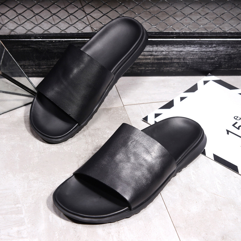 summer New Men Fashion Beach Casual Sandal Luxury Slippers Men Shoes Concise Popular Flat Men Cowhide leather Slippers Sandals