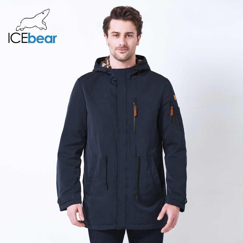 ICEbear 2019 Graben Mantel Für Männer Hut Abnehmbare Herbst Männer Neue Casual Medium Lange Marke Mäntel 17MC017D