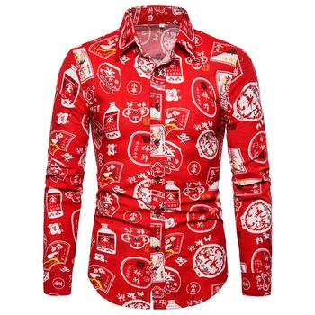plus size social mens dress shirts retro floral slim fit casual blouse men s clothing linen shirts men new Plus size Linen Shirts Men Long sleeve Blouse Men Fashion Text printing Social Shirt Male Casual New Red