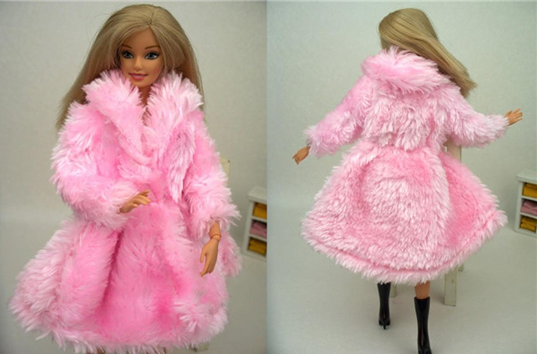 Docka Tillbehör Vinterdräkt Varmt Rosa Furpäls Kläder För Barbie - Dockor och tillbehör - Foto 2