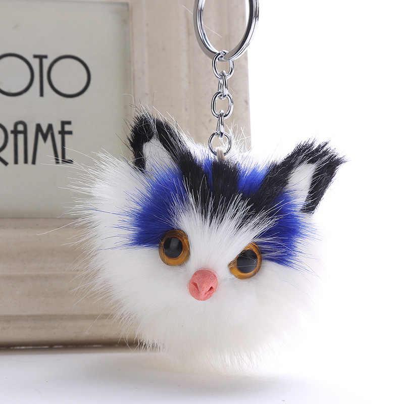 LNRRABC keychain do gato fluffy pele de neve chaveiro chave do carro cadeia saco bonito pingente de pelúcia macia