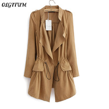 Women Windbreaker 2017 Autumn Office Long Section coats Long sleeve Drawstring waist Coats Feminine Casual Coat Tops 5 colors