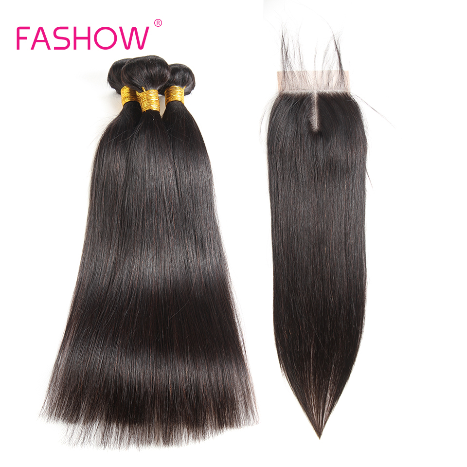 Fashow Peruvian Hair Bundles With Closure 3 Bundles With Lace Closure 100% Human Hair Weave Extensions Straight Hair Bundles