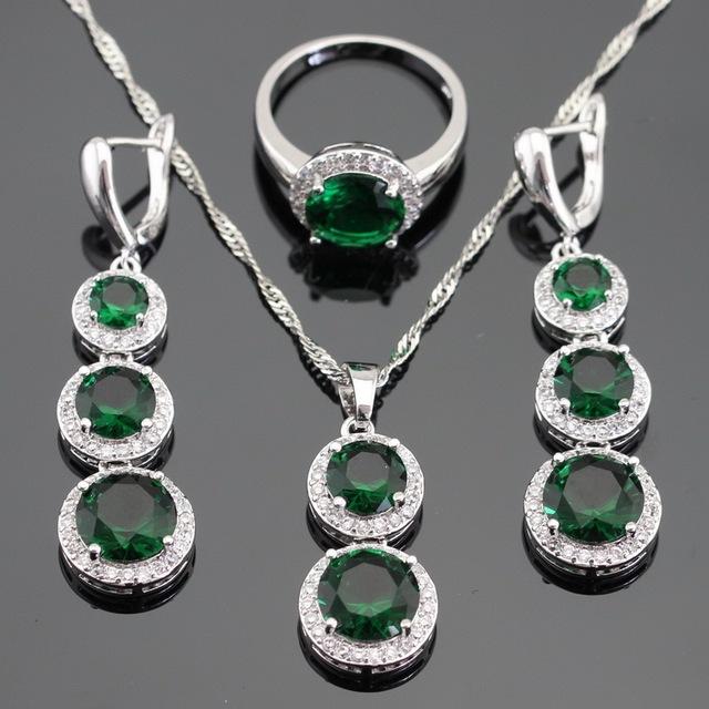 Criado verde Esmeralda Branco CZ Conjuntos de Jóias Para As Mulheres Colar de Pingente de Cor Prata Brincos Longos Gota Anéis Caixa de Presente Livre