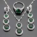 Green Created Emerald White CZ Silver Color Jewelry Sets For Women Necklace Pendant Long Drop Earrings Rings Free Gift Box